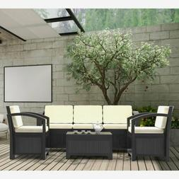 4PCS Patio Rattan Wicker Set Garden Sectional Couch Outdoor