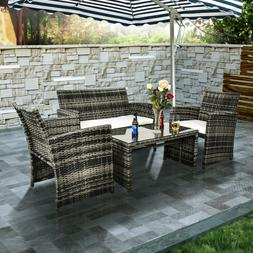 Patio Sofa Set 4PCS Outdoor Wicker Furniture Garden Rattan S