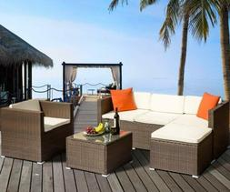 4PCs Rattan Patio Wicker Sofa Set Sectional Couch PE Outdoor