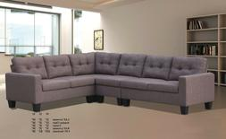 4pcs Sectional Sofa Set Modern Casual Loveseats Armless Chai