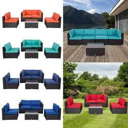 5 PC Patio PE Rattan Wicker Sofa Cushioned Sectional Set Out