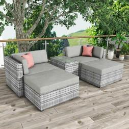 5 PCS Outdoor Patio Furniture Sets All-Weather Sectional Sof