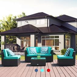 5 PCS Patio Rattan Wicker Sofa Set Cushioned Sectional Couch