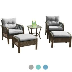 5 Pcs Patio Rattan Wicker Sofa Set Yard Garden Furniture Out