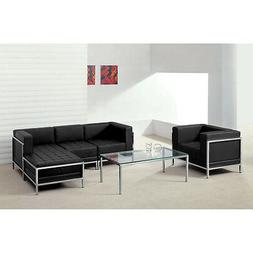 5 Piece Lounge Set with Black Leather Sectional & Chair - Re