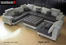 5 piece modern two tone fabric sectional