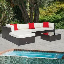5PC Patio Rattan Wicker Furniture Set Garden Sectional Couch