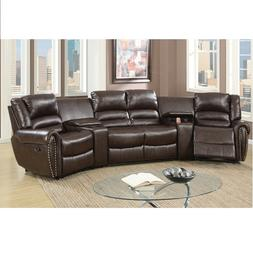 5Pcs Brown Bonded Leather Reclining Sofa Set Home Theater Se