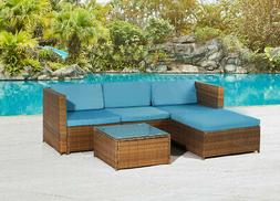 5PCS Patio Furniture Sectional Sofa Set Outdoor Rattan Wicke