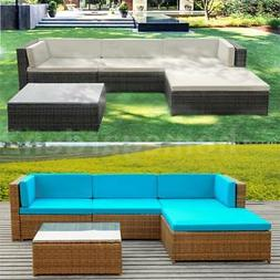 iKayaa 5x Outdoor Patio Furniture Sectional Rattan Wicker So