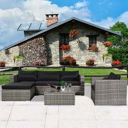 6 Piece Rattan Wicker Furniture Outdoor Patio Garden Backyar