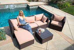 6pc Outdoor Patio Furniture Sectional Rattan Wicker Sofa Cha