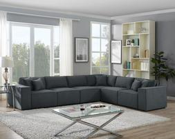 6pcs Contemporary Sectional Sofa Set Couch Microsuede Revers