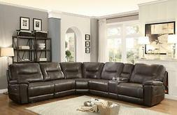 6PCs Dark Brown Leather Match Reclining Sectional Homeleganc