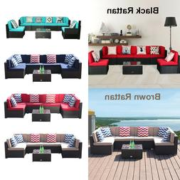 7 PC Patio Rattan Sofa Set Wicker Chair Sectional Cushioned
