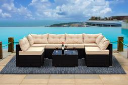 7 PC Rattan Furniture Sectional Home Outdoor Garden Patio Ba