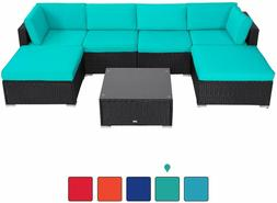 7 PCS Outdoor Patio Garden Furniture Sectional Sofa Set Ratt