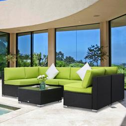 7 PCs Sectional Wicker Sofa Set Garden Couch Lounge Outdoor