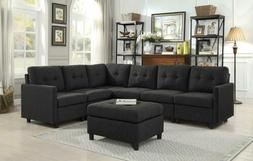 7-Piece Modular Sectional Sofas Set Fabric with Ottoman for
