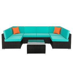 7 Piece Outdoor Patio Garden Furniture Wicker PE Rattan Sofa