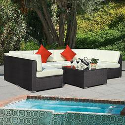 7 Piece Outdoor Patio Rattan Wicker Sofa Sectional Conversat
