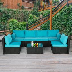 7 Piece Patio PE Rattan Sofa Set Outdoor Sectional Furniture