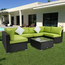 Kinbor 7PC Rattan Wicker Sofa Sectional Green Cushions Patio