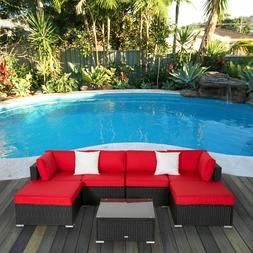 7pc Rattan Wicker Sofa Set PE Sectional Couch Cushioned Outd