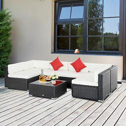 7PC Rattan Wicker Sofa Set Sectional Couch Cushioned Furnitu