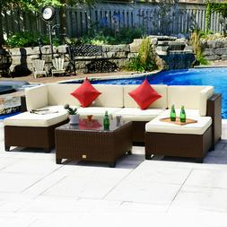 7PC Rattan Wicker Sofa Set Sectional Couch Outdoor Patio Fur