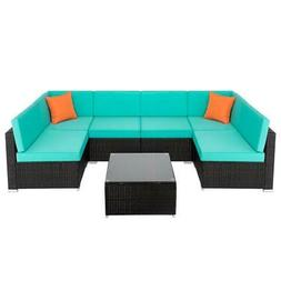 7Pcs Outdoor Patio Furniture Rattan Sectional Wicker Sofa Ch