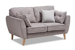Baxton Studio 145-424-8211-AMZ Manuela Loveseat, Light Grey