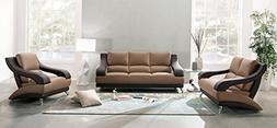 Global Furniture 982 Leather & Leather macth Sofa in Brown &