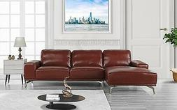 Divano Roma Furniture - Modern Real Leather Sectional Sofa,