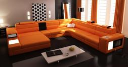 VIG Furniture 5022 Polaris Orange Bonded Leather Sectional S