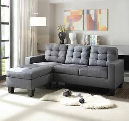 ACME Earsom Sectional Sofa in Gray Linen
