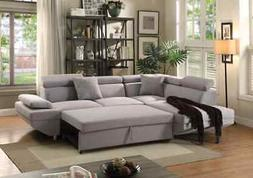Acme Jemima Sectional Sofa with Sleeper in Gray Fabric Finis