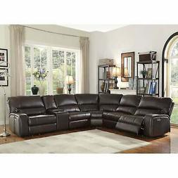 ACME Saul Sectional Sofa in Espresso Leather Aire