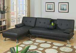 Adjustable Sofa Bed Futon Chaise Lounge Black Tufted Leather