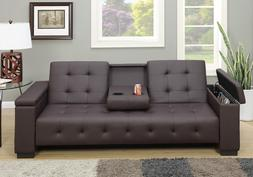 Adjustable Sofa Bed Futon Sleeper Couch Drop Down Console PU
