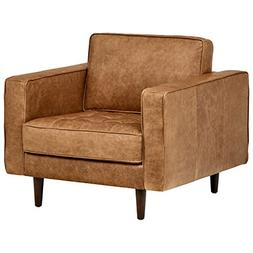 "Rivet Aiden Tufted Mid-Century Leather Chair, 35.4""W, Cognac"