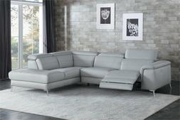 ALL 100% LEATHER GREY RECLINING USB SOFA CHAISE SECTIONAL LI