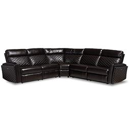 Baxton Studio Alvar Black Faux Leather 3-Piece Recliner Sect