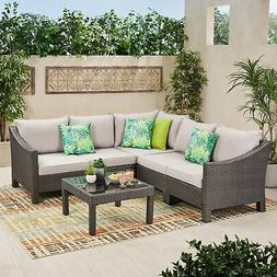 Antibes Outdoor 6-piece V Shaped Sectional Sofa Set with Gre