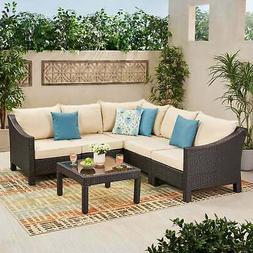 Antibes Outdoor 6-piece V Shaped Sectional Sofa Set with