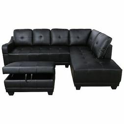AYCP Furniture Faux Leather Sectional Sofa with Storage Otto