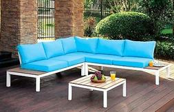 Bailey Plank Style Outdoor Patio Sectional Sofa White&Blue A