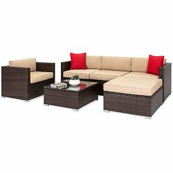 BCP 6-Piece Sectional Wicker Sofa Set w/ Accent Chair, Glass