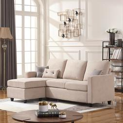 Beige Sectional Sofa L-Shaped Couch W/Reversible Chaise for