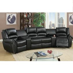 Black Bonded Leather Reclining Sofa Set Home Theater Section